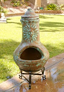 Elan Home and Garden Outdoor Clay Chiminea Fire Pit - Clay Wood Burning Chiminea, Wood-Burning Backyard Stove Fireplace (Light Turquoise Sun) (27