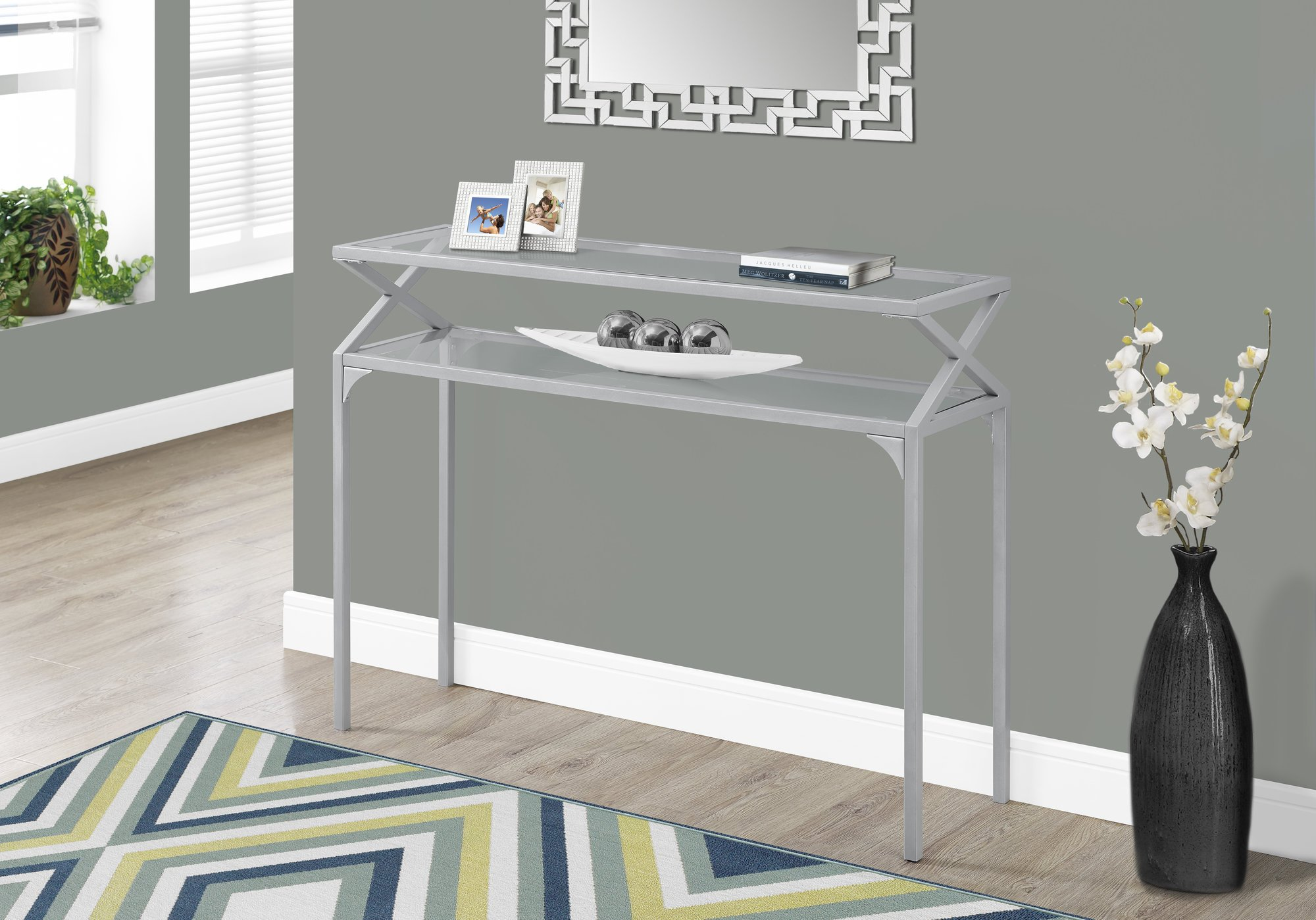 Monarch Accent Table - 42'' L/Silver Metal Hall Console