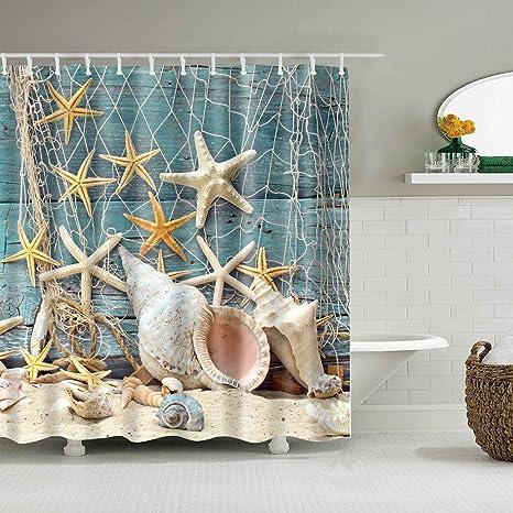 Amazon Com Hipaopao Starfish Seashell Beach Theme Fabric Shower Curtain Sets Bathroom Decor With Hooks Waterproof Washable 72 X 72 Inches Blue Yellow White Home Kitchen