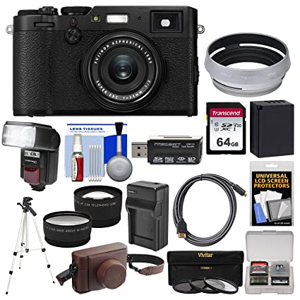 Fujifilm X100F Wi-Fi Digital Camera (Black) with Leather Case + 64GB Card +  Flash + Battery & Charger + Tripod + Tele/Wide Lens Kit