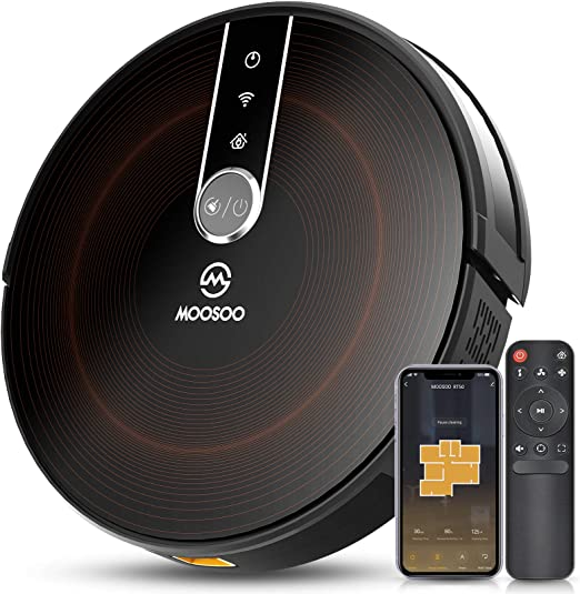 MOOSOO Robot Vacuum with Mapping Technology, 2200Pa Strong Suction Quiet Smart WiFi Robot Vacuum ...