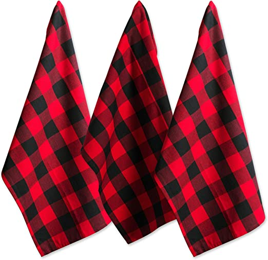 Set of 24 Red and White Checkered Kitchen Cotton Dish Cloth