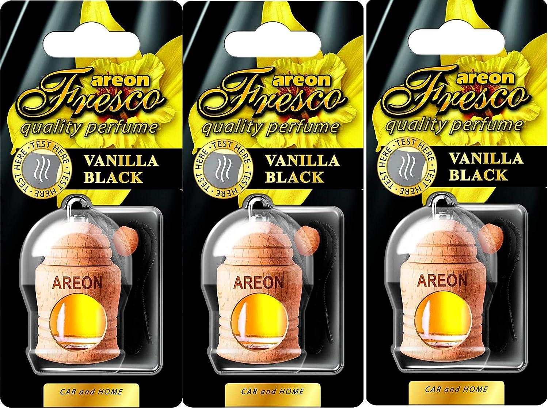 AREON Fresco Ambientador Vainilla Negra Coche Olor Colgante (Pack de 3)
