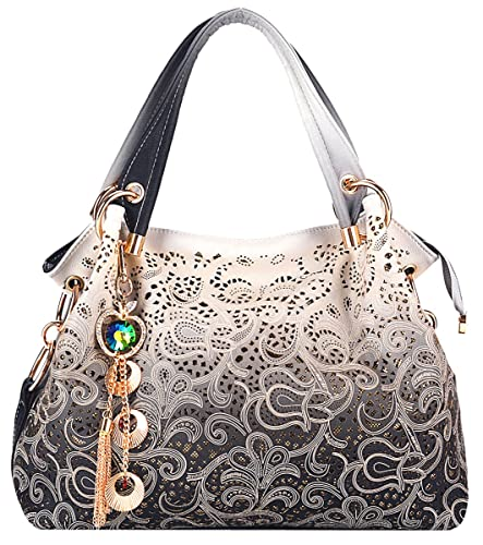 Tinksky Tote Handbag Womens Shoulder Bag Casual Signature Printing Pu Leather Tote