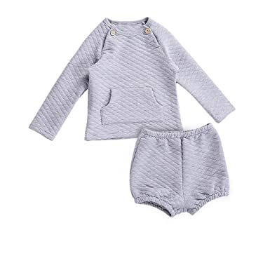 Lajinirr Girls Casual Grey Lace 2PCS Clothing Set: Long Sleeve Tops and Hot  Shorts ,