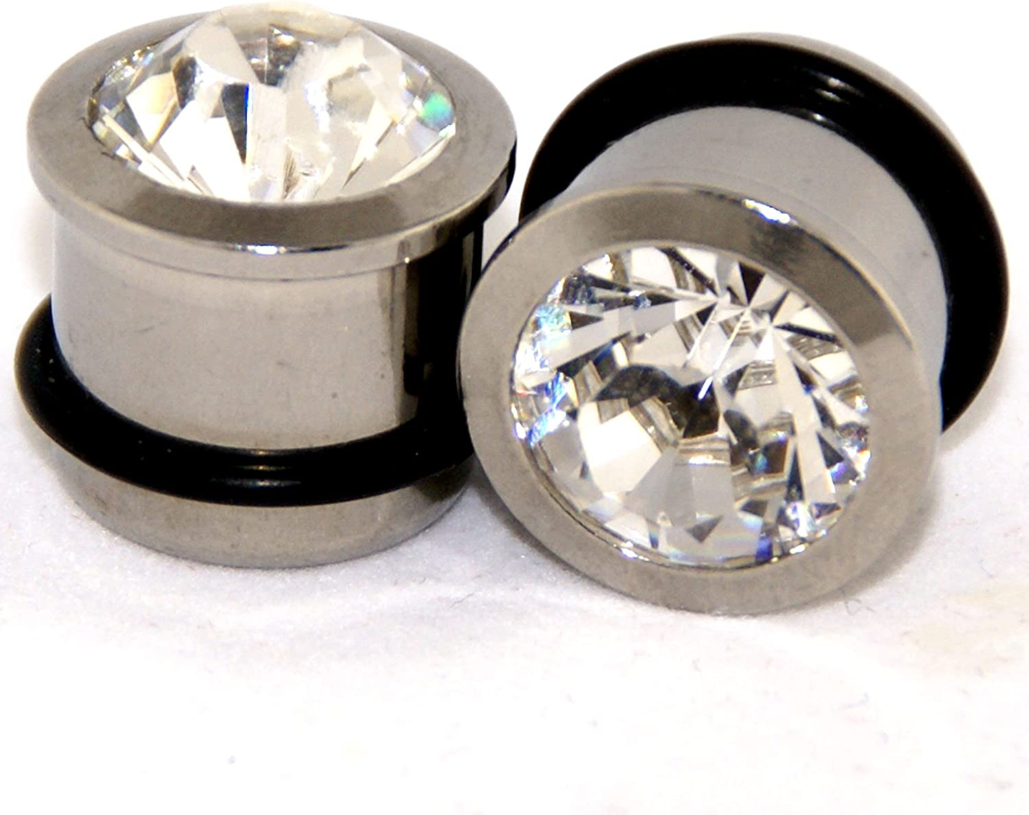 MallGoodies 2G = 6mm Black Solid Clear Faceted Crystal Gem Retainer Ear Plugs 1 Pair