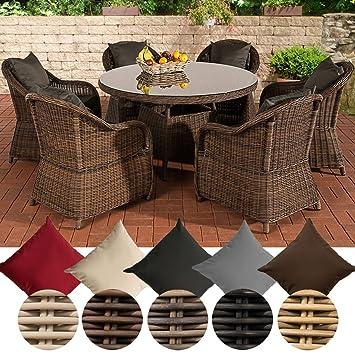 CLP Ensemble de Jardin Stavanger 5mm en rotin tressé, 6 chaises + Table  Ronde Ø 130 cm Revêtement: Anthracite, Rotin: Marron marbré