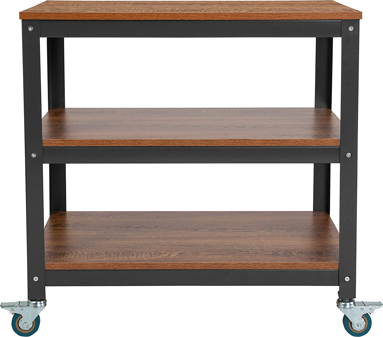 Flash Furniture Livingston Collection 30W Rolling Storage Cart with Metal Wheels in Brown Oak Wood Grain Finish