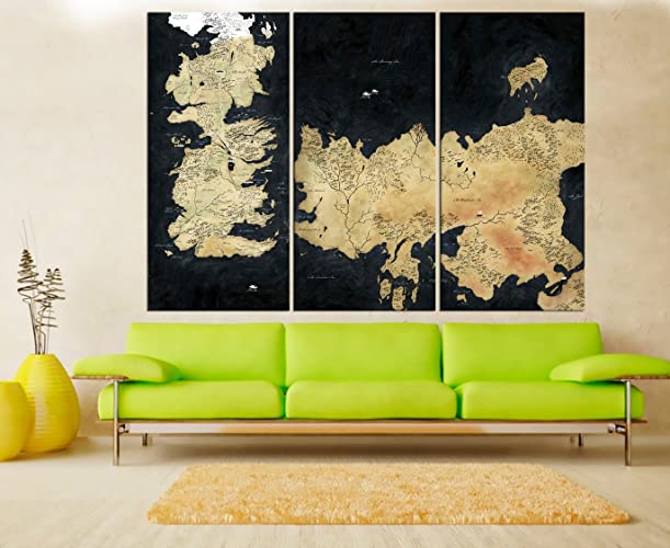 Amazon.com: Game Of Thrones Map For Kids Room Wall Art Canvas Print ...