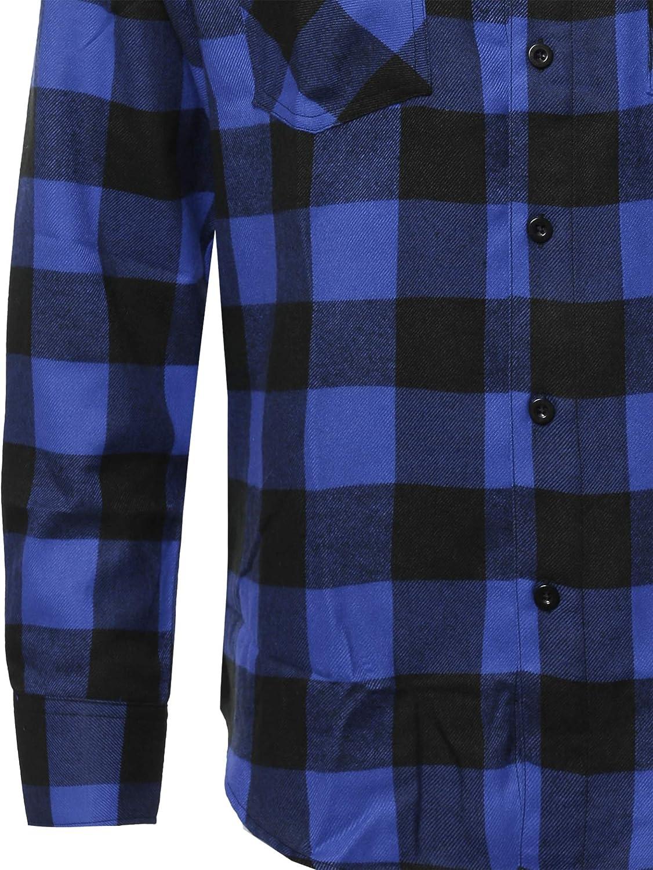 Youstar Mens Plaid Flannel Long Sleeves Button Closure Shirt