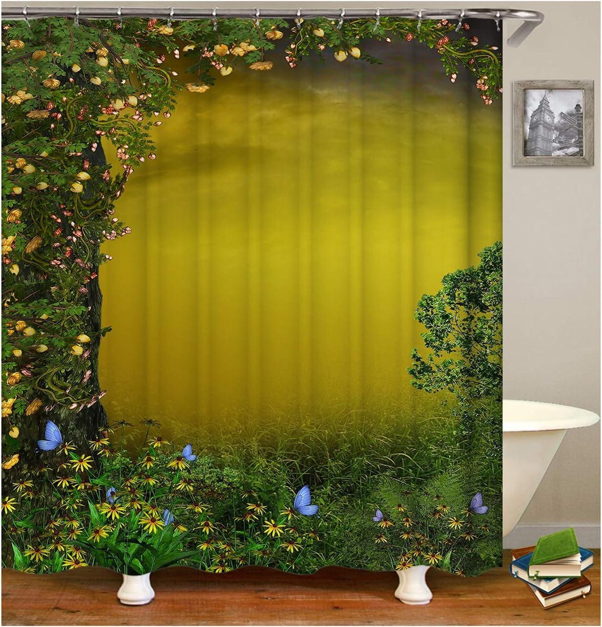Aienid Cortina Ducha Antimoho Transparente Flor De La Hierba Verde Cortina De Ducha Estanca Size:150X180CM: Amazon.es: Hogar