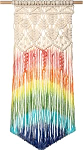 Tatuo Rainbow Macrame Wall Hanging, Rainbow Colorful Wall Hanging Decor Handmade Woven Cotton Wall Art Boho Bohemian Home Decor for Bedroom, Dorm Room, Living Room, Apartment