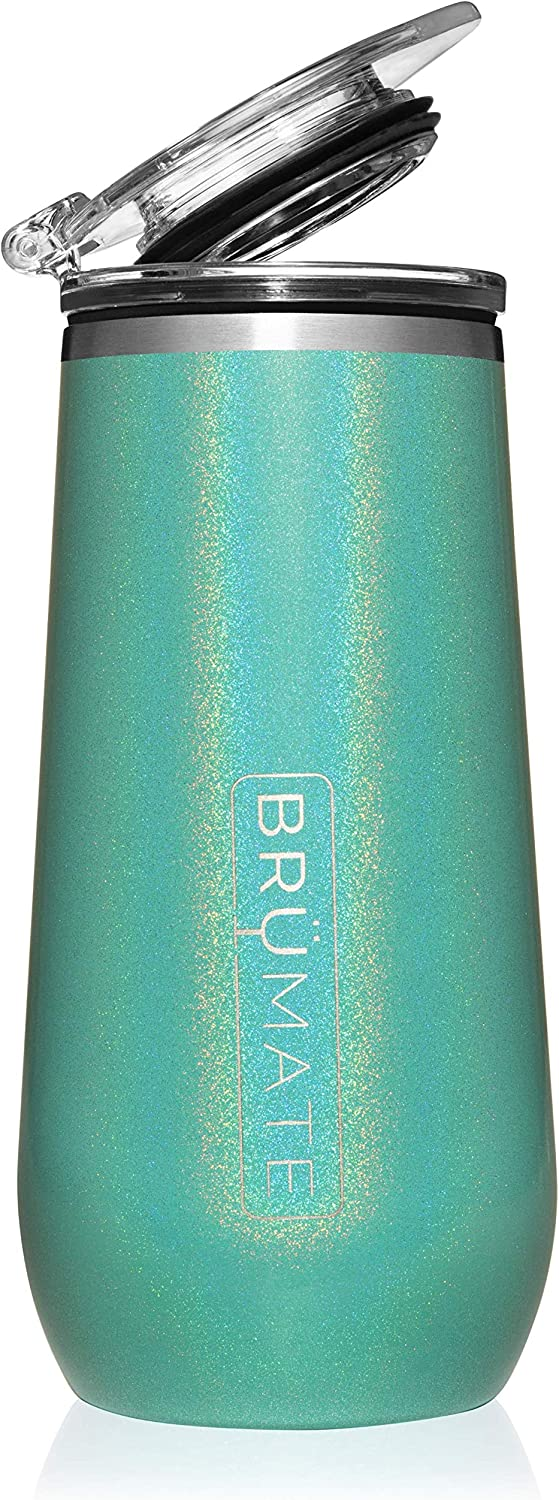 BrüMate 12oz Insulated Champagne Flute With Flip-Top Lid - Made With Vacuum Insulated Stainless Steel (Glitter Peacock)