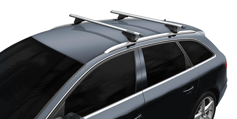 BB-EP-Menabo Einfacher Aluminium Dachträ ger 90303660 fü r Audi A4 Avant mit integrierter Dachreling (Bü ndige Schiene) fü r U-Bü gel Montage oder T-Nut Montage mit 21 mm Breite