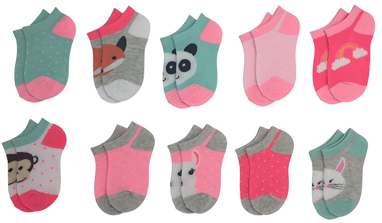 Pickle /& Dot Girls Cute No Show Cushion Ankle Socks 10-Pairs