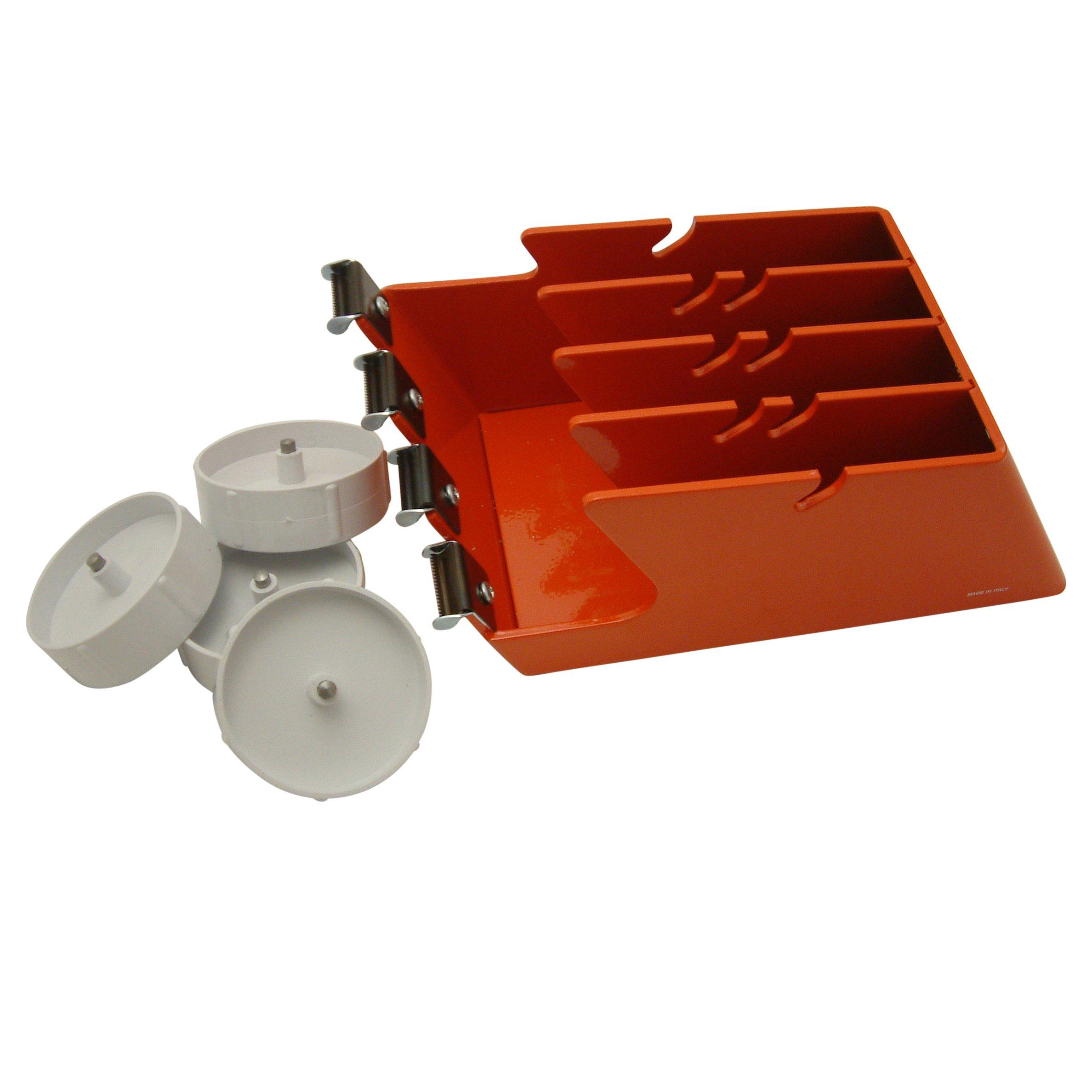 J.V. Converting EX-4M/TB JVCC EX-4M Quadruple-Roll Steel Desktop Tape Dispenser: for 4 Rolls up to 1'' widetoothed Blades, Orange