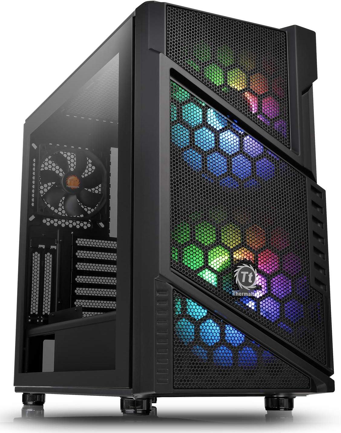 ثيرمالتيك فيو 37 صندوق كمبيوتر الالعاب على شكل برج متوسط مع تزامن للوحة الام الفا ار جي بي مع 3 مراوح والفا ار جي بي بجهد 5 فولت متزامنة مع الفضاء اللوني ار جي بي للوحة الام CA-1J7-00M1WN-04
