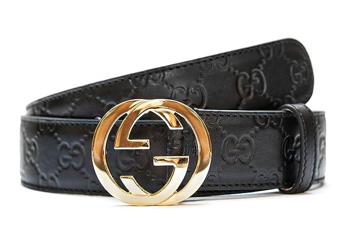 venta caliente online 5c10f c8eb2 Gucci Negro cinturón de Oro Hombres y mujeres correa de ...
