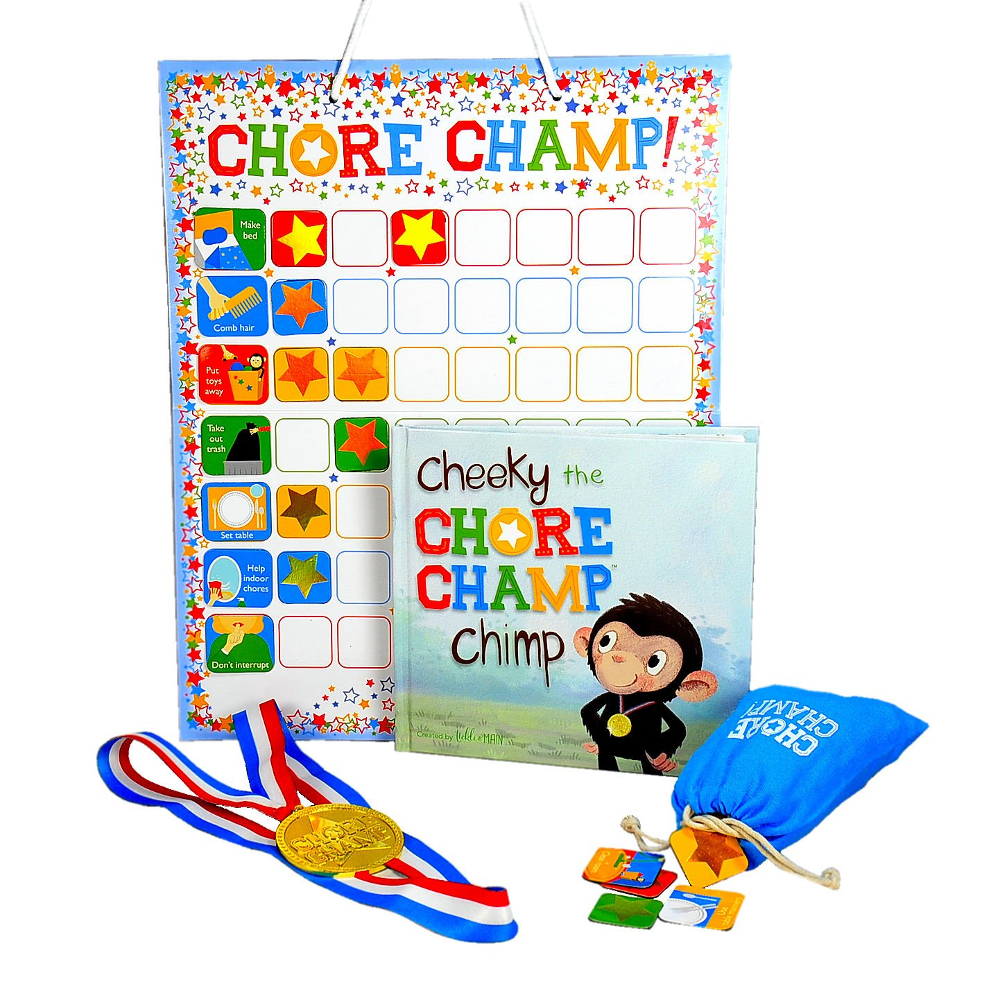 Chore Champ! – Chore Chart Set for Toddlers and Kids - Responsibility, Behavior, Reward - Includes Book, Magnetic Chart, 78 Magnets, and Gold Medal Reward - Learn from Cheeky, The Chore Champ Chimp!