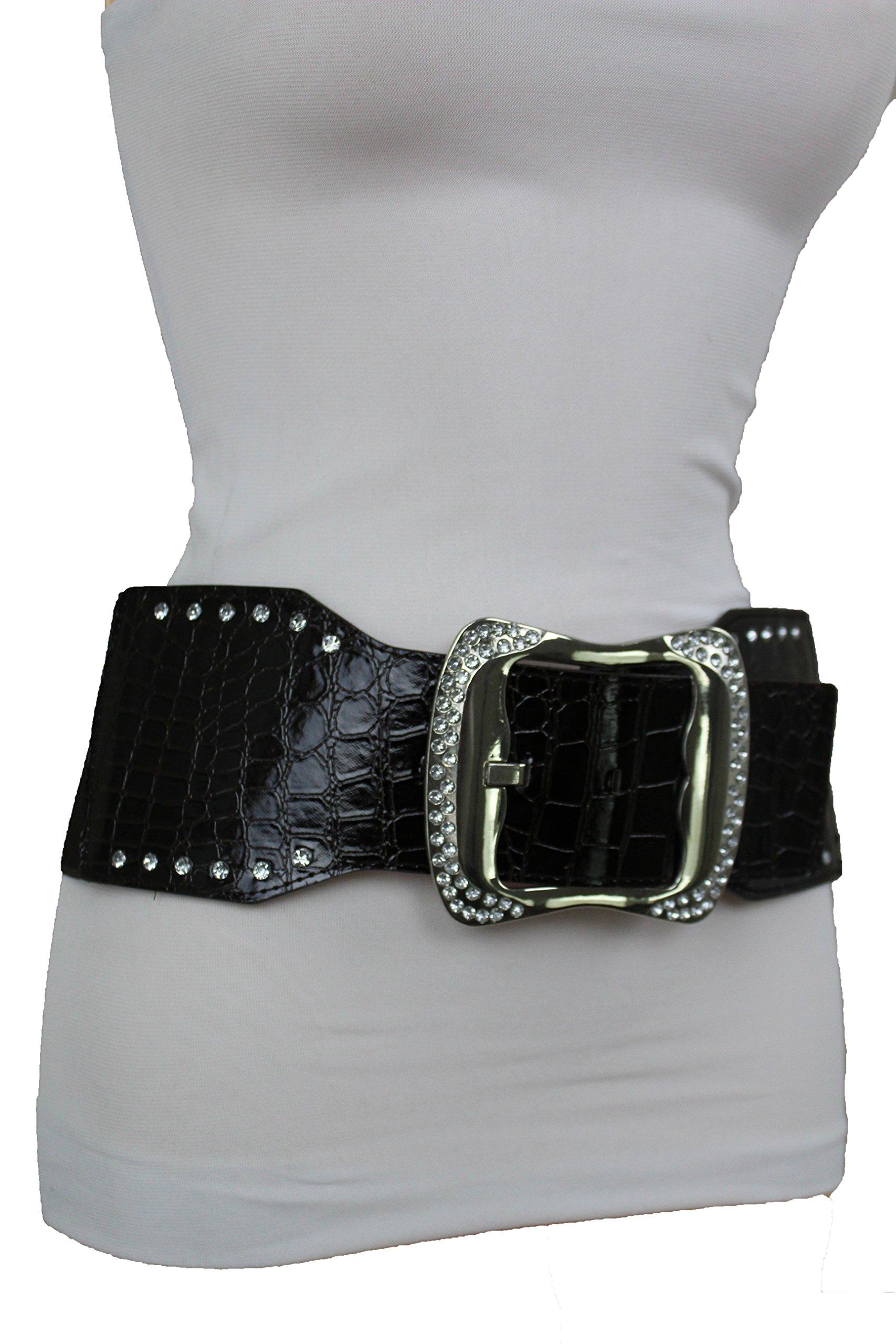 TFJ Women Fashion Wide Elastic Belt Hip Waist Silver Metal Bling Buckle Plus M L Black