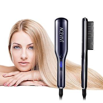 Acevivi Hs65 Hair Straightener Brush 2 In 1 Ionic Straightening And