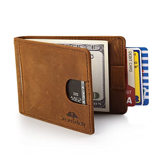 Mens Genuine Leather RFID Blocking Wallet With Money Clip For Men Father Husband Boyfriend Slim Bifold Profile (BROWN) at Amazon Mens Clothing store: