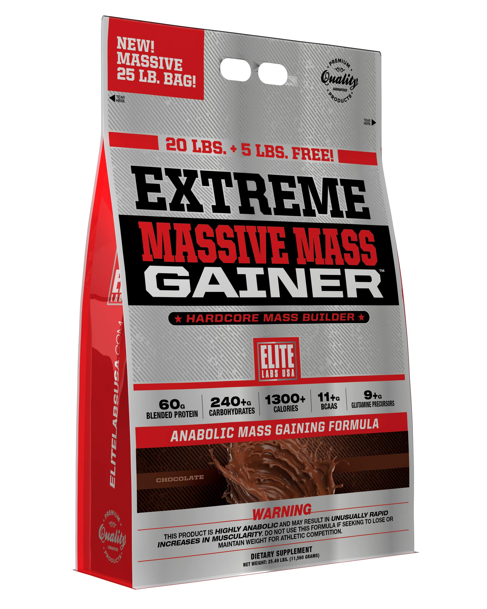 Elite Labs USA Extreme Massive Mass Gainer 25 Pound, Chocolate by Elite Labs USA (Image #1)