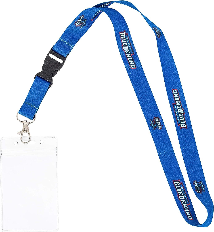 w//Pouch DePaul University DPU Blue Demons NCAA Car Keys College ID Badge Holder Lanyard Keychain Detachable Breakaway Snap Buckle