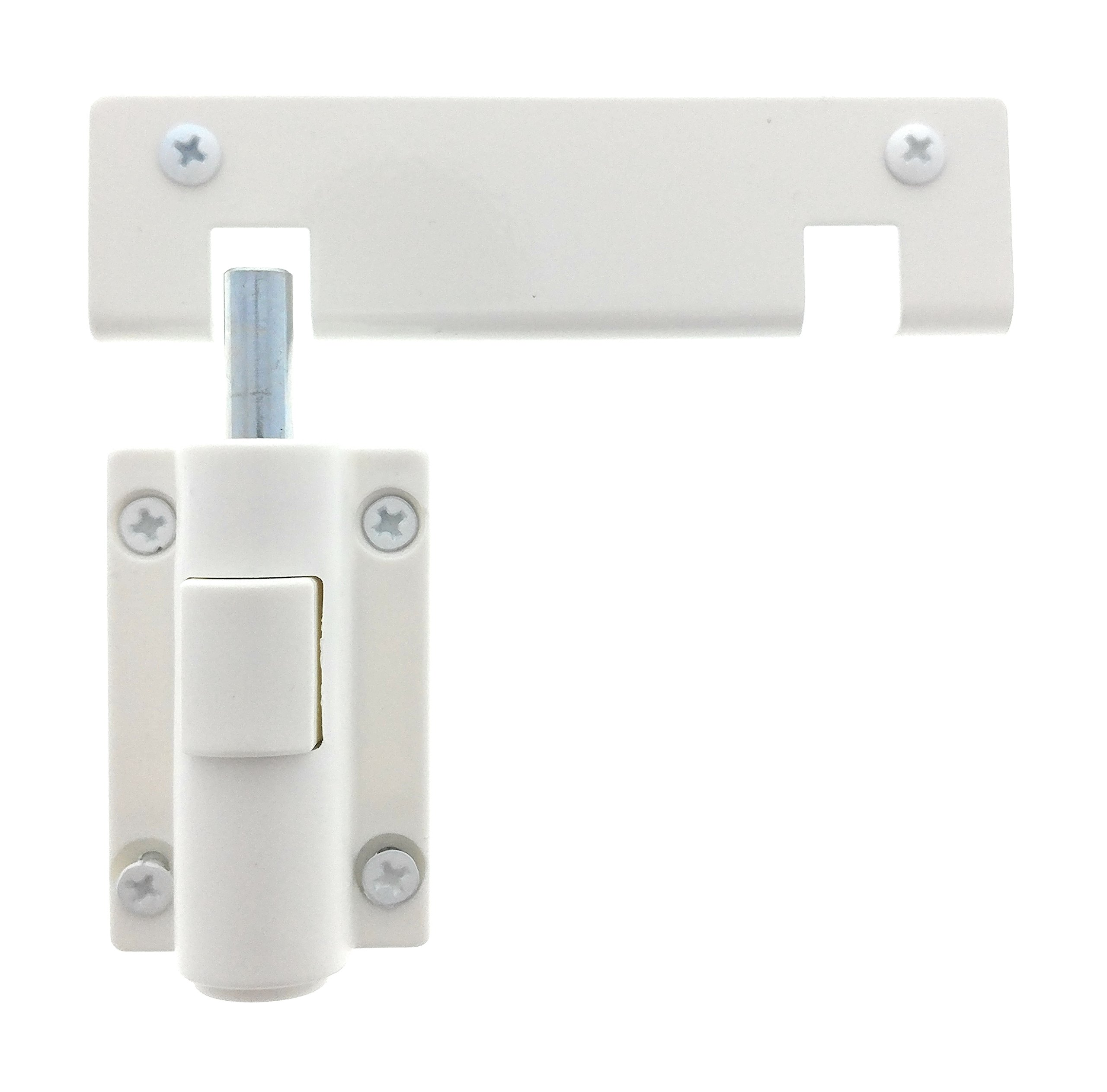 Patio Door Lock, Child Safety Push Button Bolt Action Security Lock for Sliding Doors with Adjustable Notch for Locked Partially Opened Doors, by Essential Values