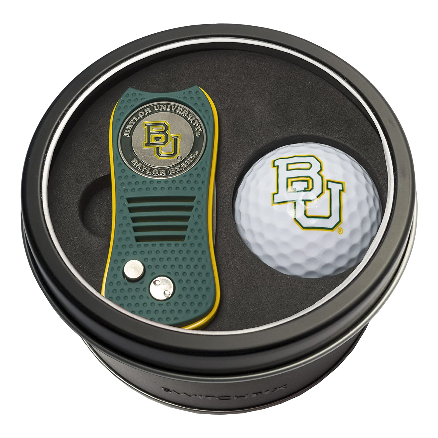 Team Golf NCAA Gift Set Switchfix Divot Tool with Double Sided Magnetic Ball Marker Golf Ball Patented Single Prong Design Less Damage to Greens Switchblade Mechanism