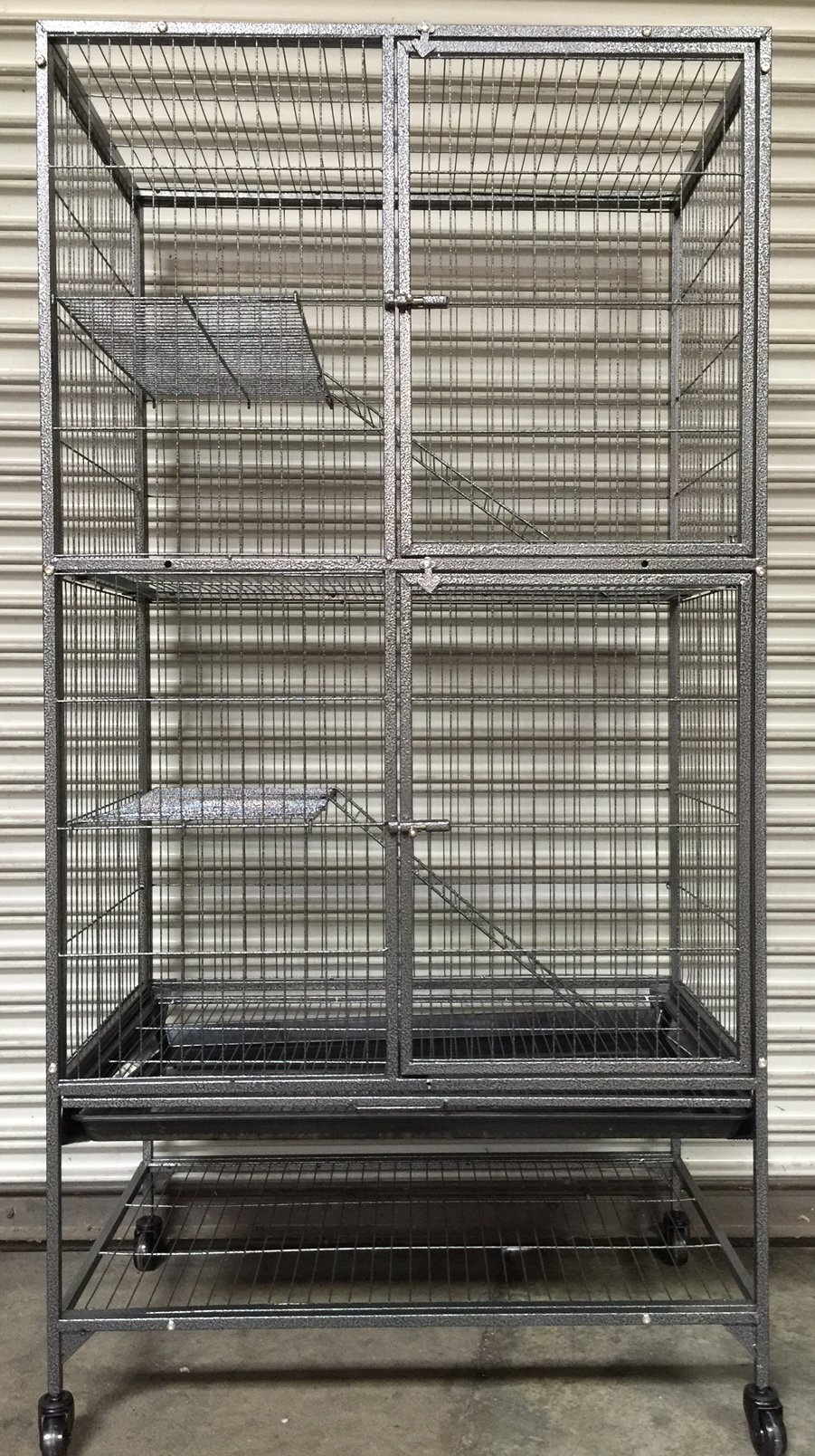 Extra Large Double Large Front Doors For Feisty Ferret Chinchilla Rat Small Animal Wrought Iron Cage With Stand, 1/2 Bar Spacing,Black Vein