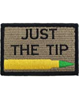 Just The Tip M855 Penetrator Funny Hook and Loop Fully Embroidered Morale Tags Patch (Coyote and Black)