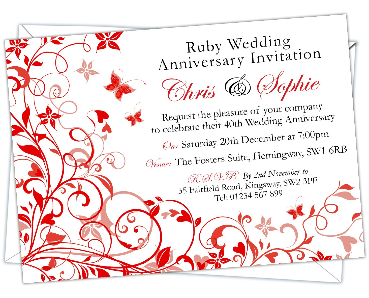 Personalised Ruby Wedding 40th Anniversary Invitations (Design Code ...