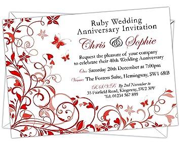Personalised ruby wedding 40th anniversary invitations design code personalised ruby wedding 40th anniversary invitations design code rwa 008 pack of stopboris Gallery