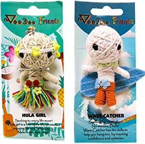 FROG SAC Voodoo Dolls Set of 2 - Yarn String Doll Great as Keychain, Charm for Purse, Backpacks, Office Accessories - Great Gifts (Hula Girl & Wave Catcher)