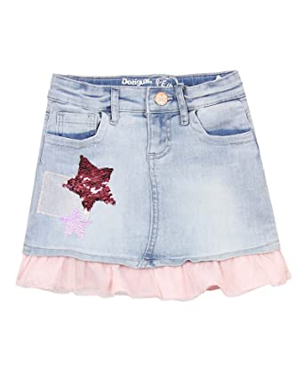 1df6a11cdb Amazon.com: Desigual Girls' Denim Skirt Granollers, Sizes 5-14: Clothing