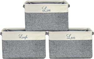 Sorbus Storage Basket Set [Pack 3] Large 15 x 10 x 9 Live Laugh and Love, Big Rectangular Fabric Collapsible Organizer Bins with Carry Handles for Easy Use (Storage Grey Bins - Script Text)