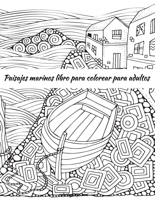 Amazon Com Paisajes Marinos Libro Para Colorear Para Adultos