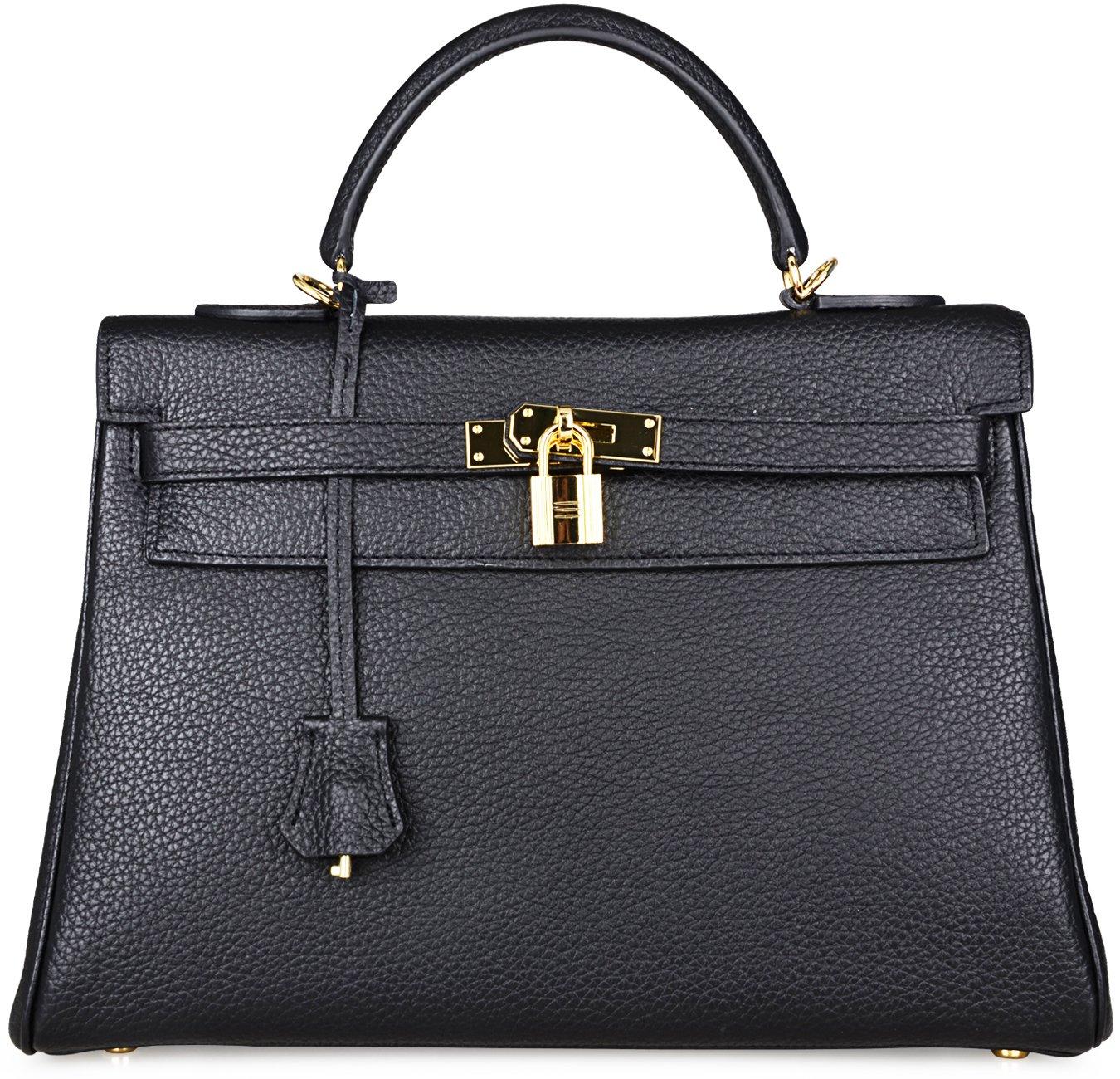 Cherish Kiss Women's Genuine Leather Tote Bag Cross Body Shoulder Padlock Handbags K32 (32CM, Black)
