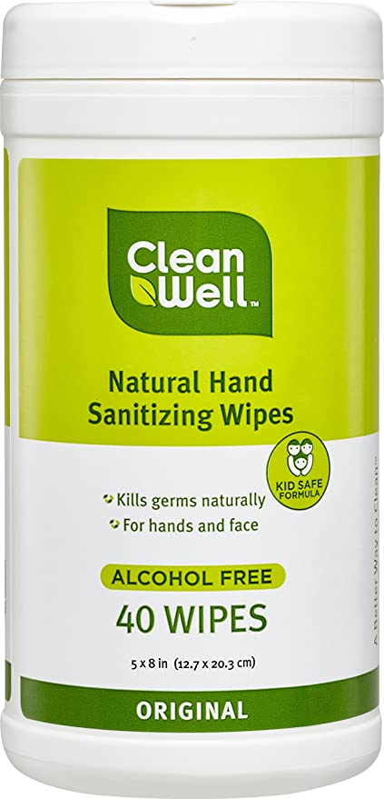 CleanWell Natural Mano Sanitizing Toallitas Canister – Original aroma, 40 Count