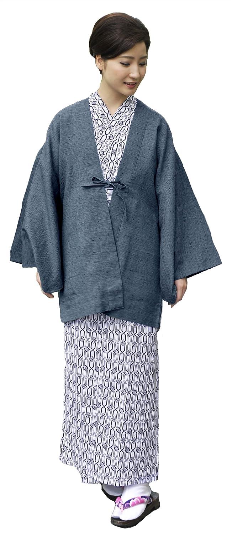 (キョウエツ) KYOETSU レディース旅館浴衣4点セット(羽織/旅館浴衣/帯/共紐) B06XCDSXL2 浴衣-150 羽織-青 羽織-青 浴衣-150