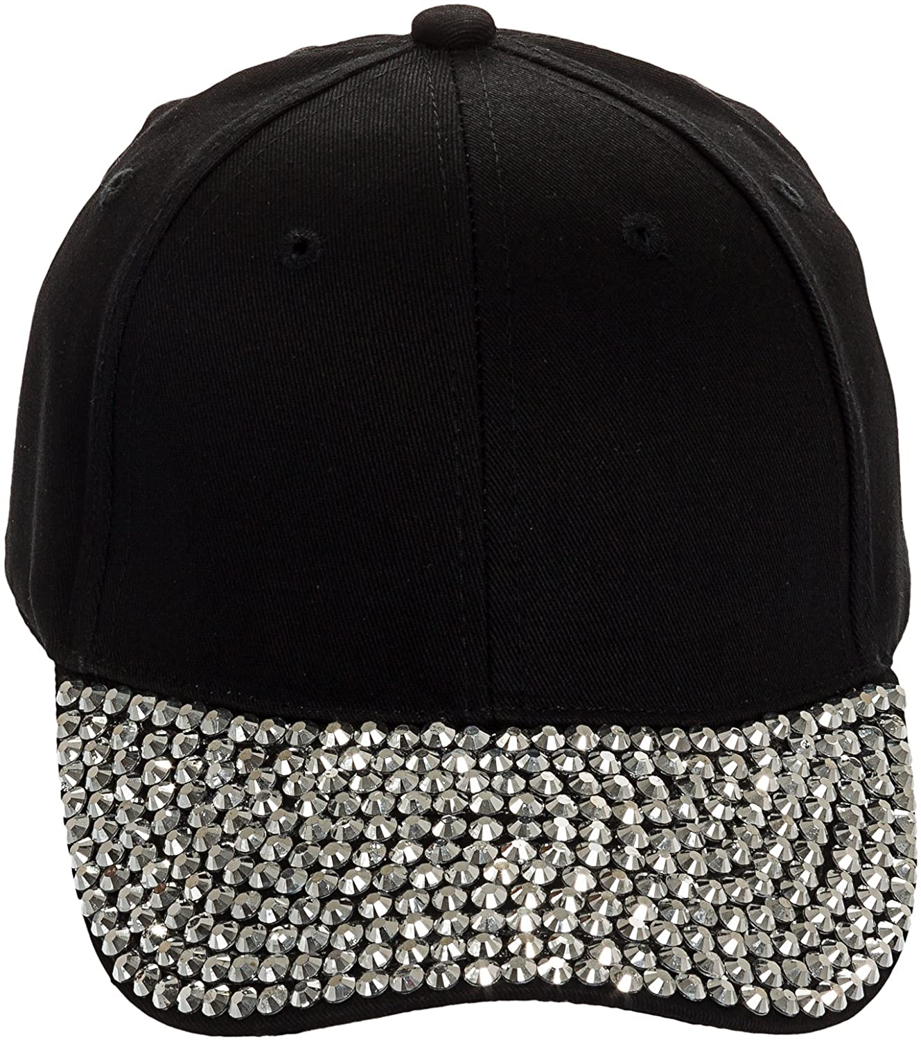 a9b0b4743ba Amazon.com  Crystal Case Studded Rhinestone Brim Adjustable Baseball Cap Hat  (Black)  Clothing