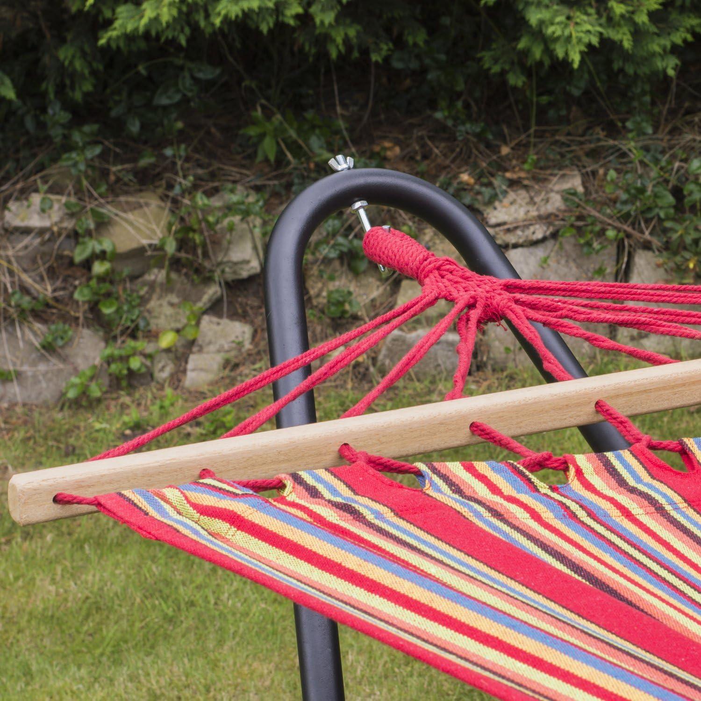 Woodside Blue Hammock Steel Frame Premium Standing Swinging Hammock Garden Patio Outdoor