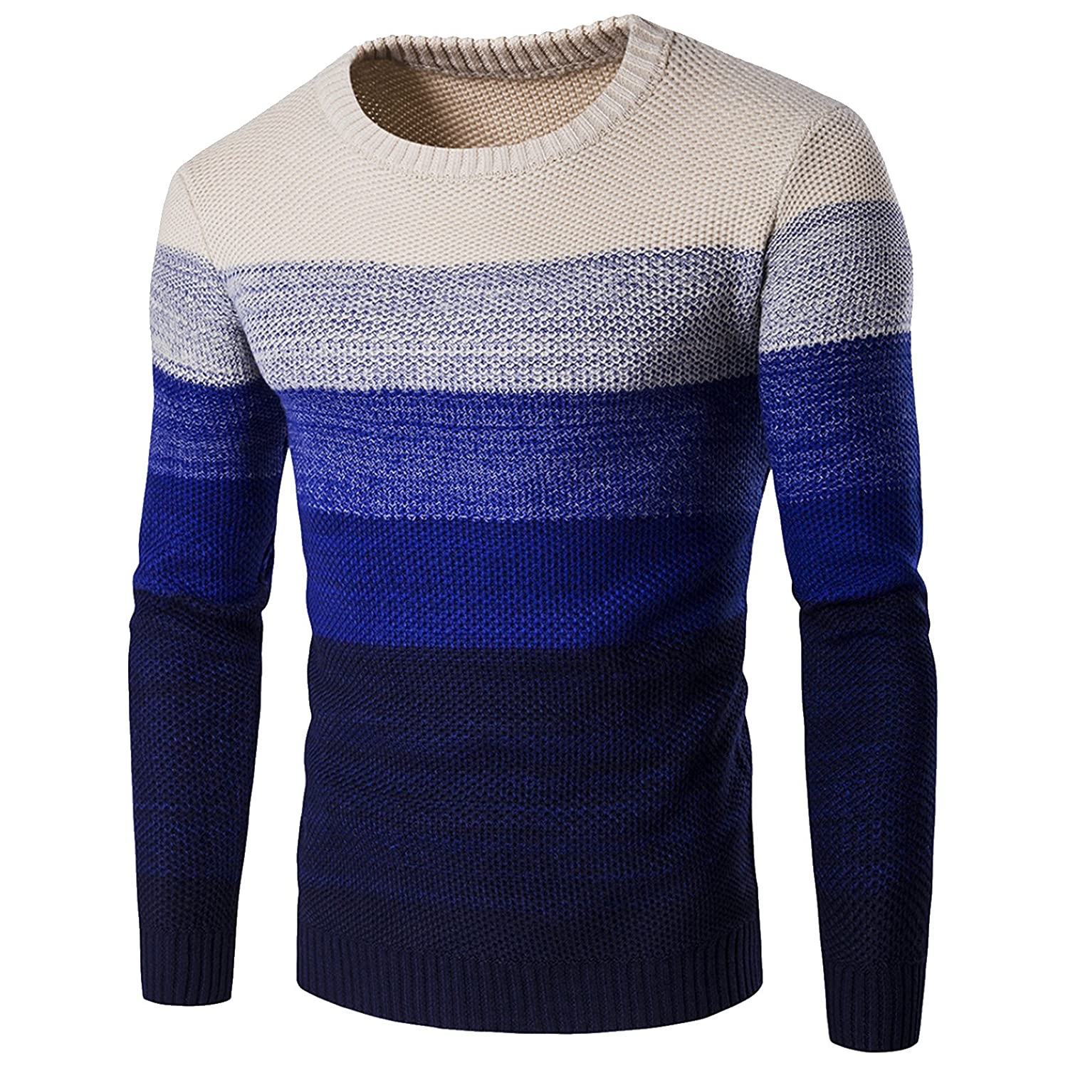 WSLCN Mens Chic Warm Coton Sweater Gradient Color Pullover Thick Knitting Jumper AW-Y253