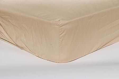 Algodonea - Sábana bajera ajustable 100% algodón. 150 cm. Alta calidad. (Camel): Amazon.es: Hogar