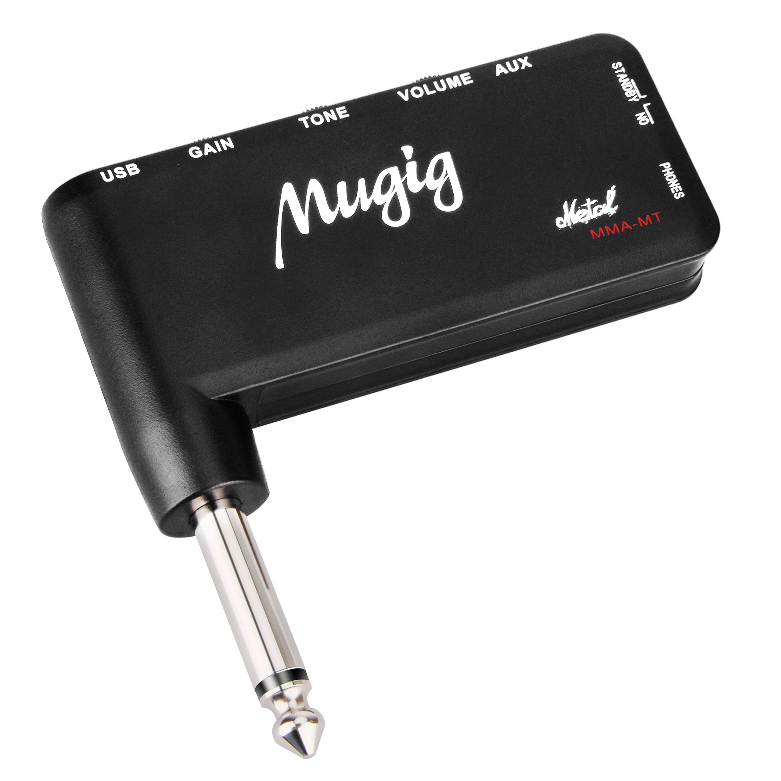 Mugig Guitar Amplifier, Guitar Headphone, Mini Guitar Amp for Classic Rock with Heavy Metal Tone, Rechargeable Battery with 1/4'' (3.5mm) Input (Also used for bass guitar)