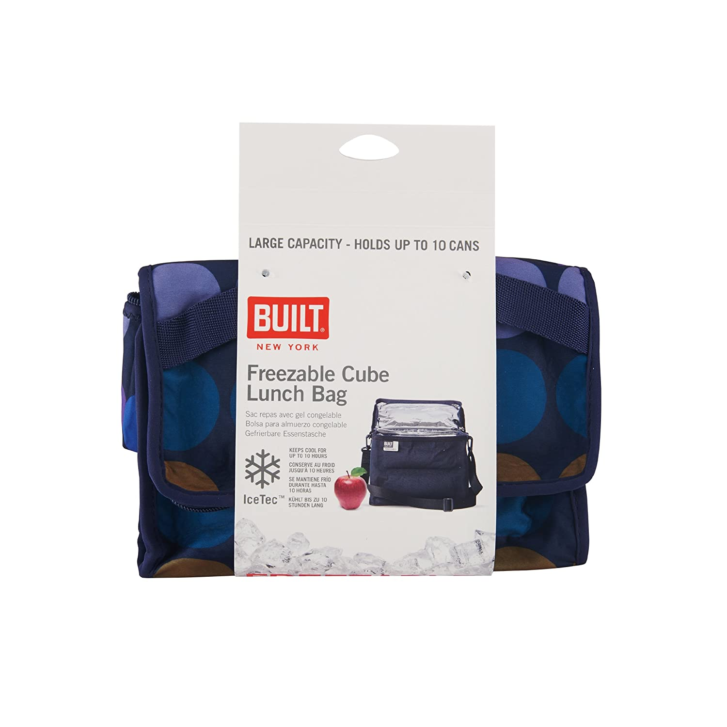 BUILT NY IceTec Freezable Lunch Cube with Zip Closure, Plum Dot