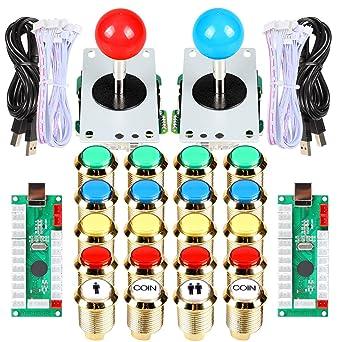 2 Spieler DIY Arcade Spiel Bundle Kit USB Controller Joystick LEDs Lampe Button