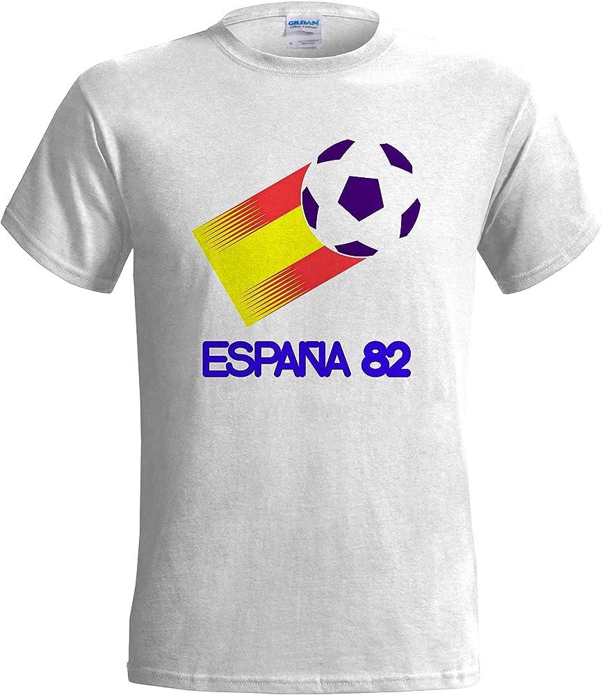 Camiseta de fútbol retro para hombre de España 82 Blanco blanco 52 ES/54 ES/Large: Amazon.es: Ropa y accesorios