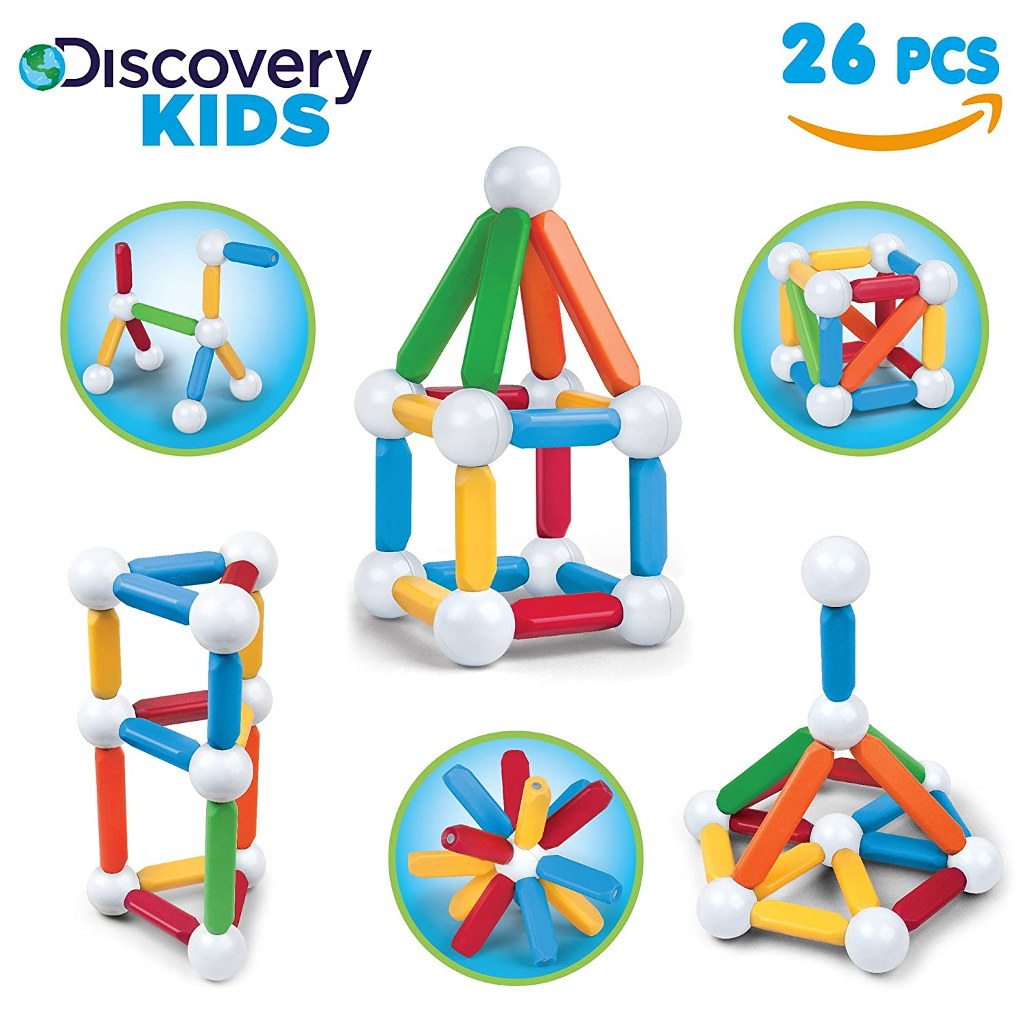 DISCOVERY KIDS 26 Piece Best Magnetic Blocks, Colorful Building Block Set for Boys/Girls, Best 3D Educational Creativity, STEM Toys for Children – Red, Green, Blue, Yellow, White Review